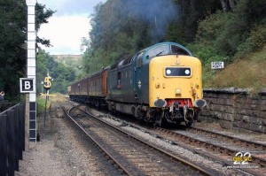During 55 022's last visit to the North Yorkshire Moors Railway, the loco is seen approaching Goathland with the 12.30 Grosmont to Pickering train during the diesel gala on 14th September 2012. Photo thanks to Brian Sherrington.